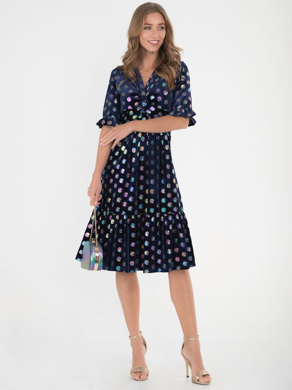 Navy Rainbow Flower Velvet Dress