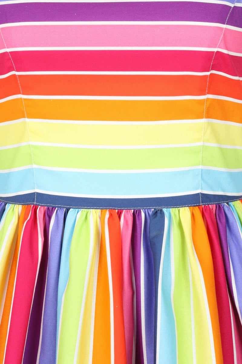 Close up of bright rainbow dress