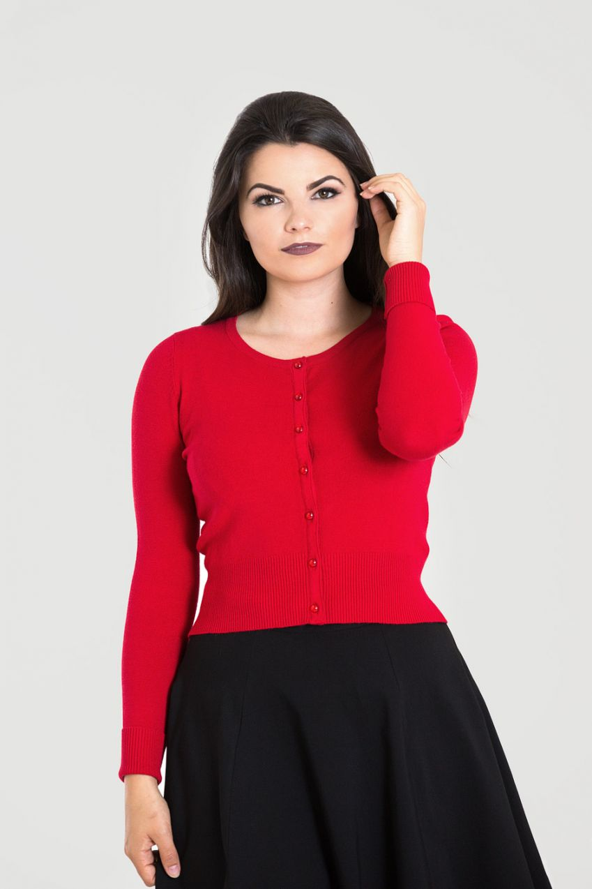 Long Sleeved Red Retro Cardigan