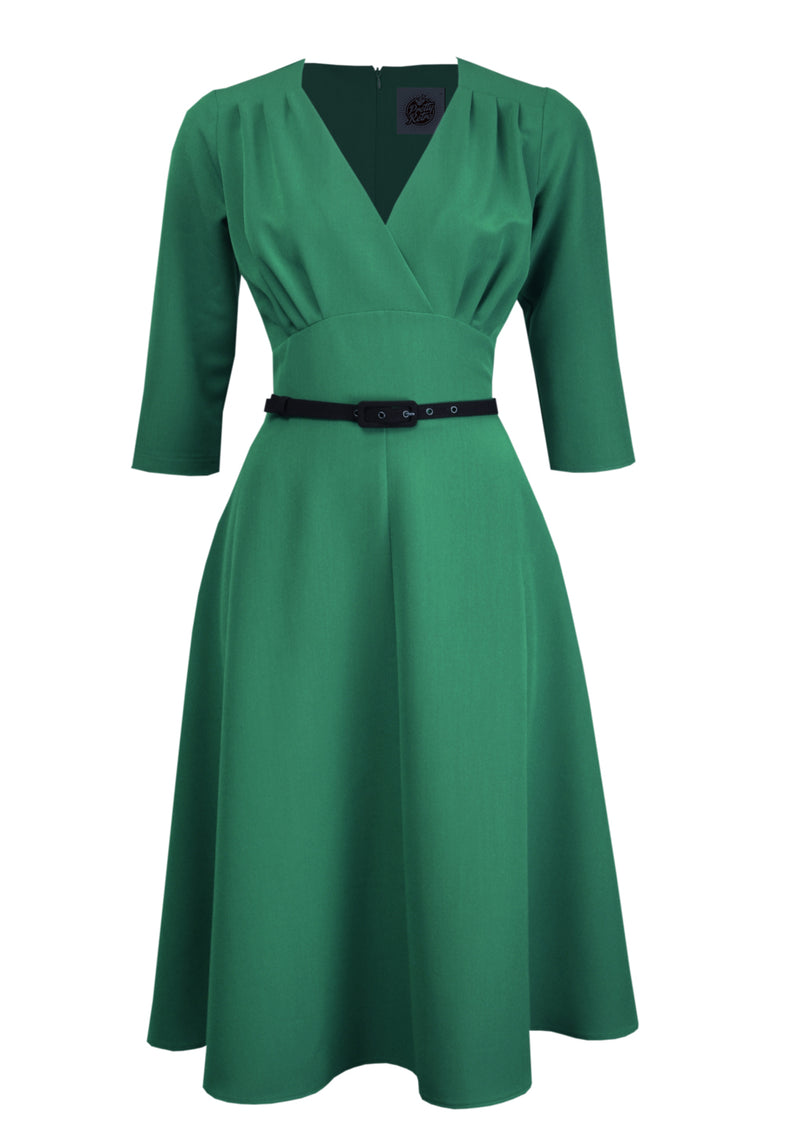 Classic 1940s Retro Swing Dress with Sleeves