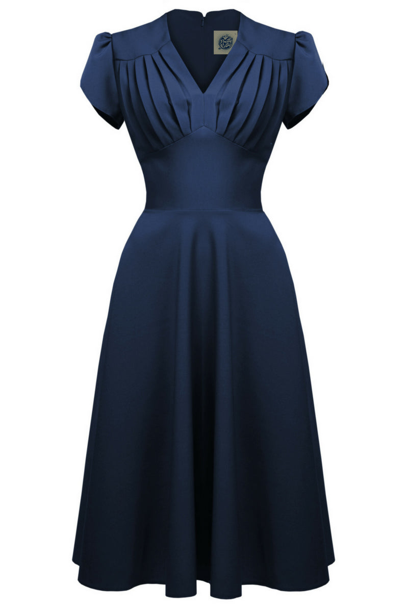 Clarence and Alabama - Pretty Retro, 1940s Retro Swing Dress in Navy