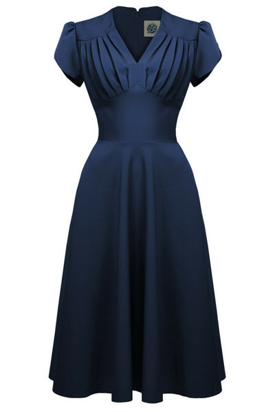 1940s Retro Swing Dress in Navy