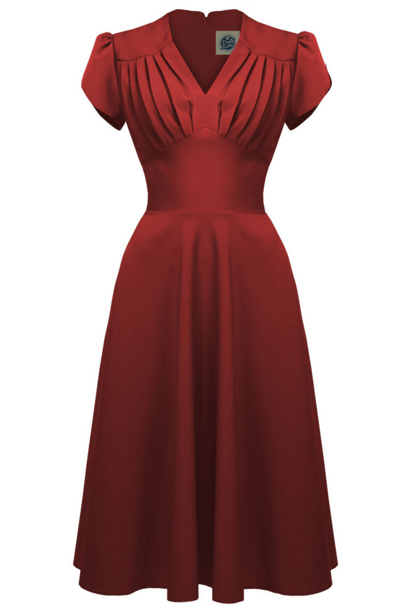 Clarence and Alabama - Pretty Retro, 1940s Retro Swing Dress in Red