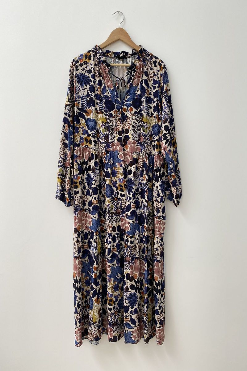 Floaty Smock Dress in Floral Navy