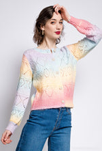 Pointelle Rainbow Cardigan - Round Neck