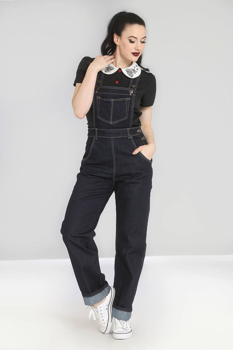 Retro Denim Dungarees Navy Blue