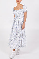 Square Neck Broderie Anglasie Midi Dress - Blue/White