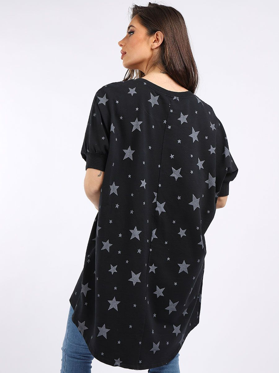 Star Print Cotton Jersey Top - Black