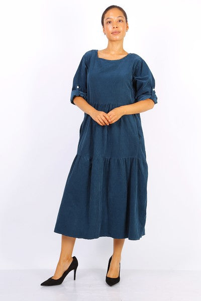 Fine Cord Midi Smock Dress in Teal