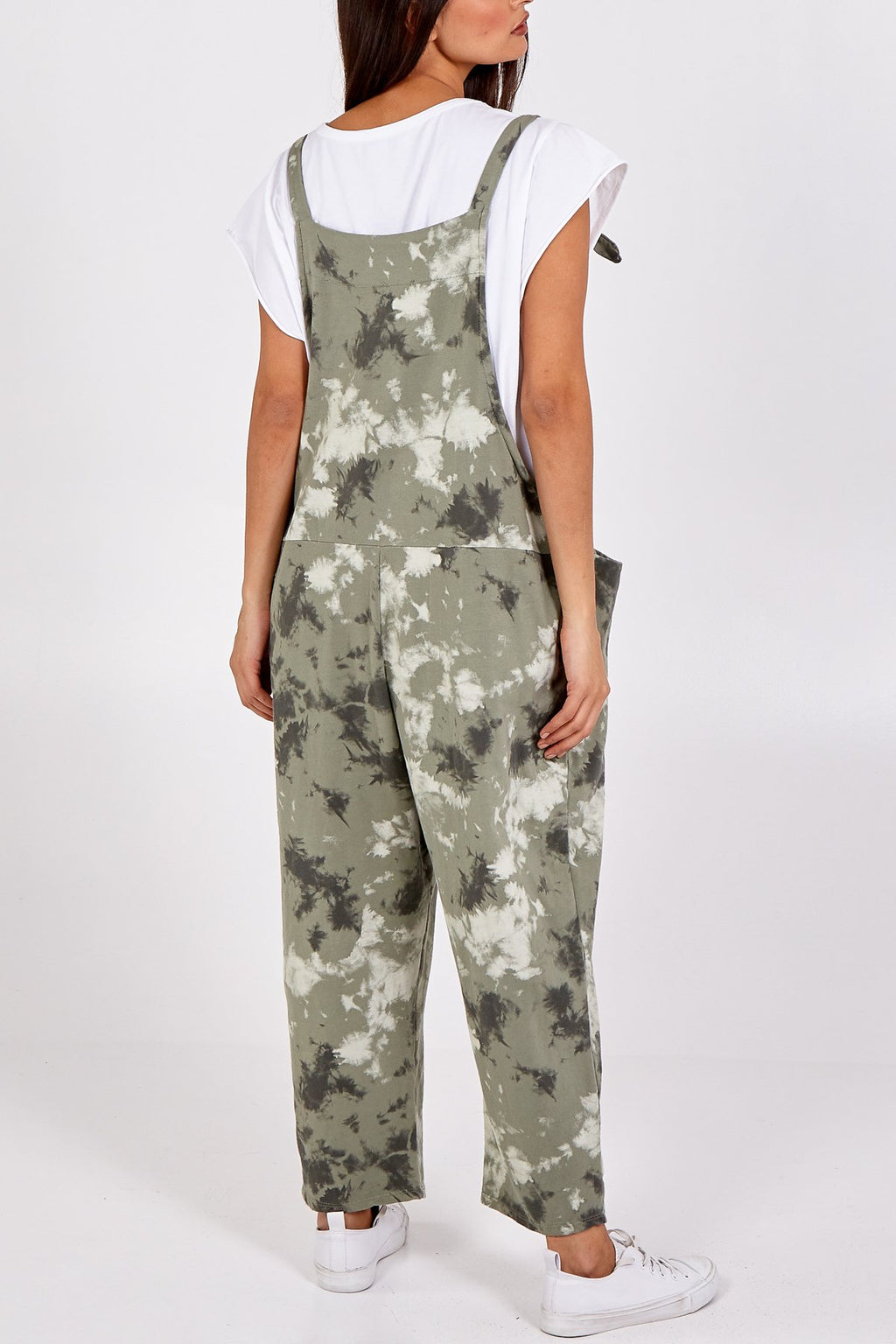 Khaki Tie Dye Slouch Dungarees