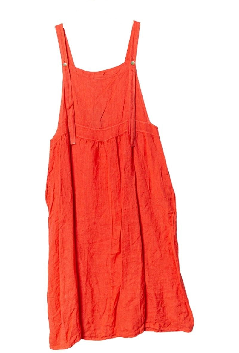 Tilly Apron Pinafore Midi Dress - Coral
