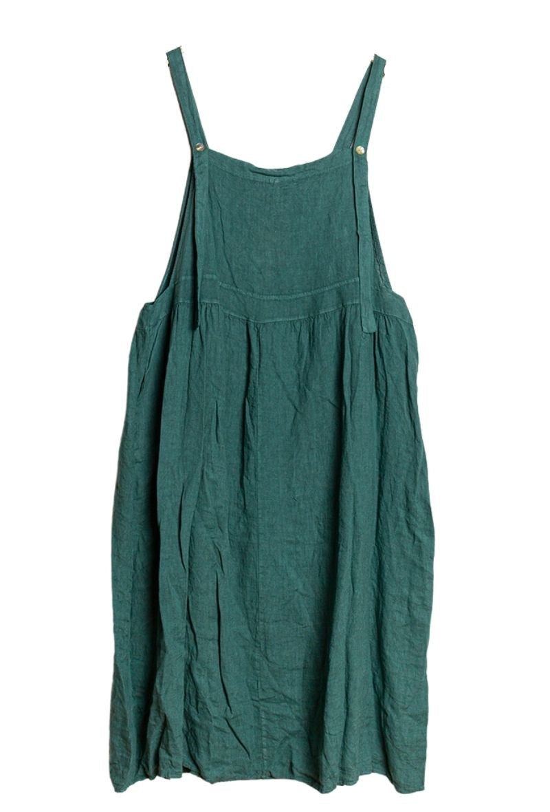 Tilly Apron Pinafore Midi Dress - Wasabi