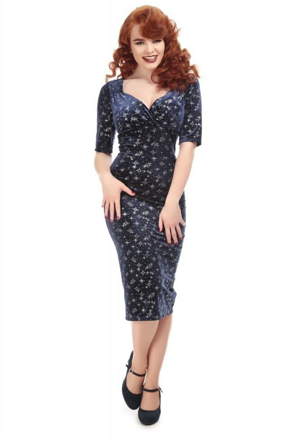 Sparkle Navy 1950s Vintage Wiggle Dress