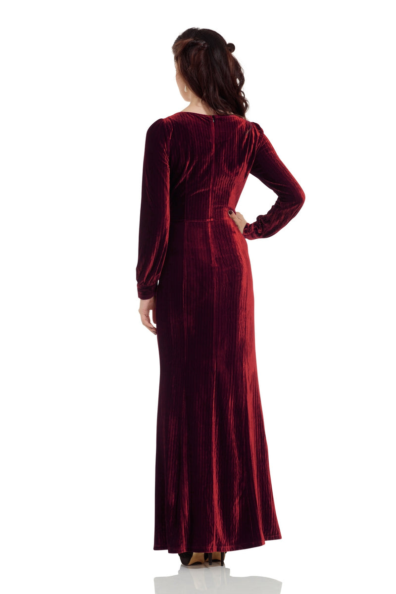 Vintage Red Velvet Evening Gown