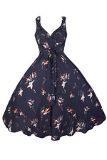 Navy 1950s dress with bird print