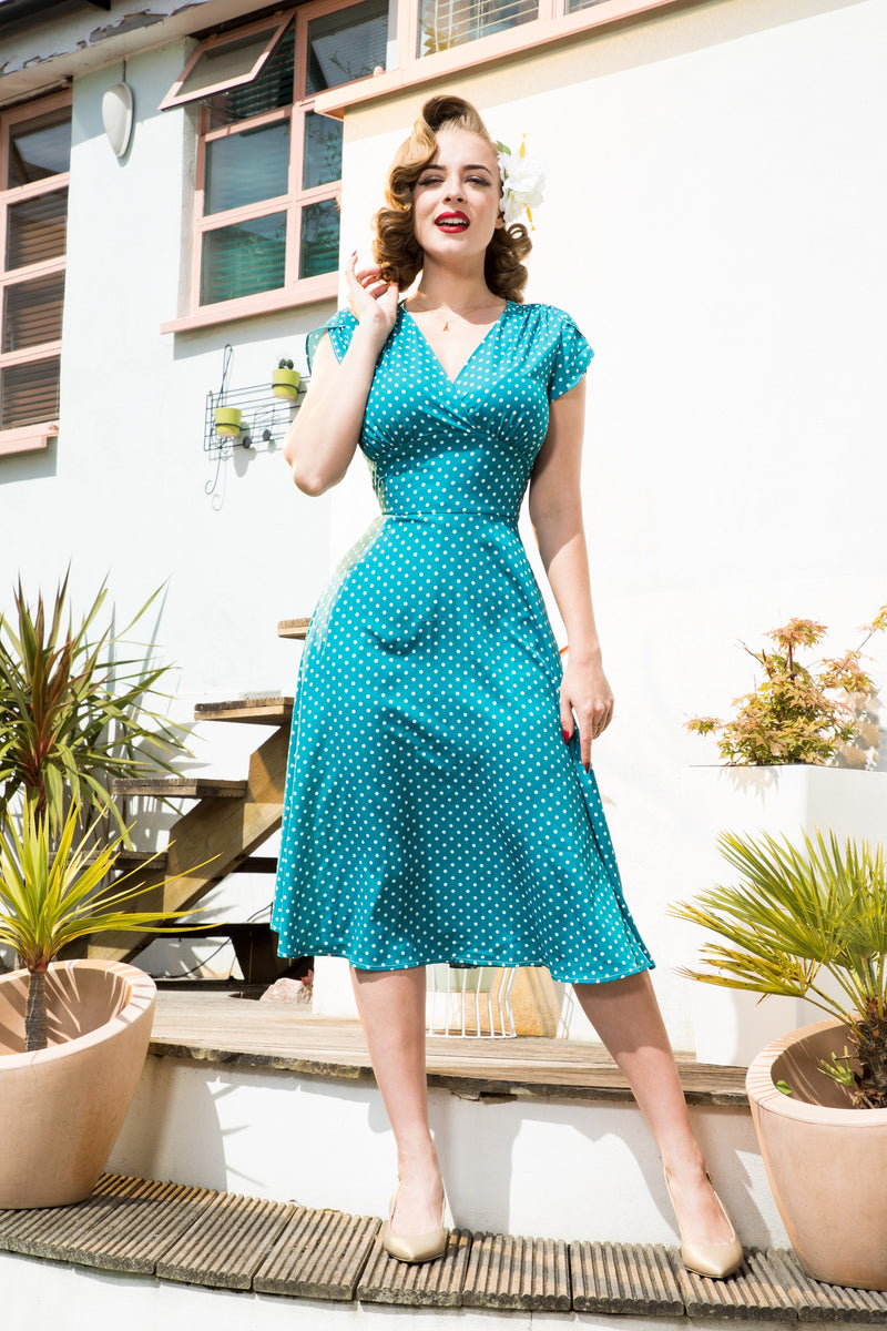 Clarence and Alabama - Voodoo Vixen, Tabby 1940s Polka Dot Tea Dress in Teal