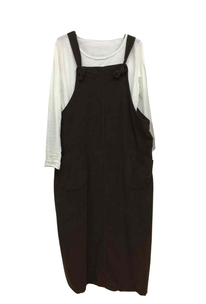 Needle Cord Midi Pinafore Dress - Chocolate