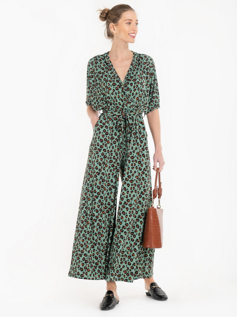 Bianca Wrap Jumpsuit in Green Leopard