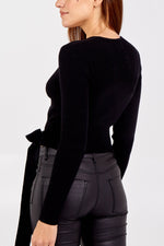 Ribbed Wrap Cropped Jumper - Black