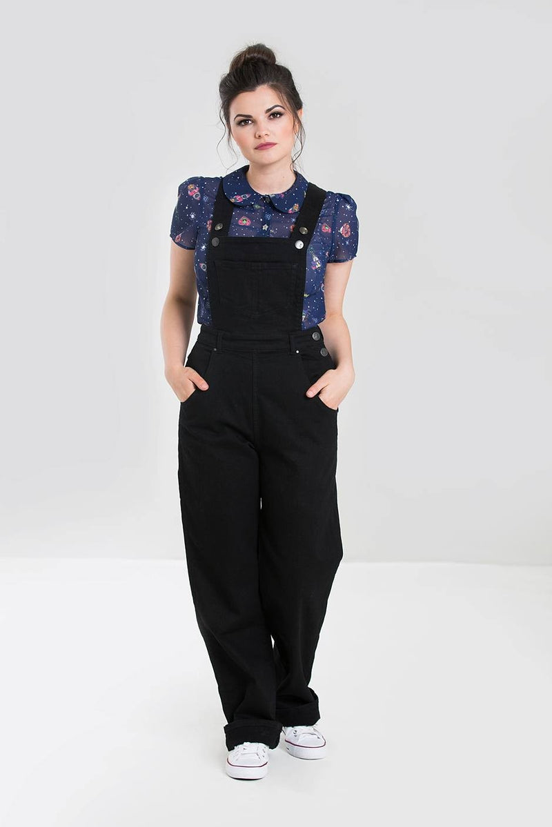 Retro Denim Dungarees Black