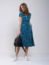Evie Blue Leopard Print Dress