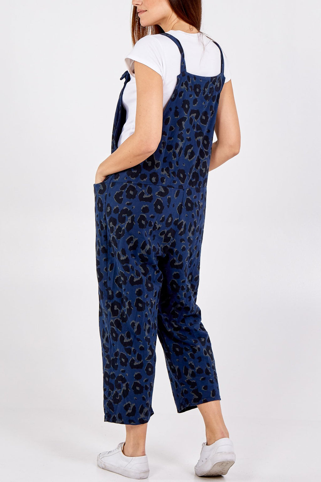 Navy Blue Leopard Tie Slouch Dungarees