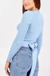 Ribbed Wrap Cropped Jumper - Baby Blue