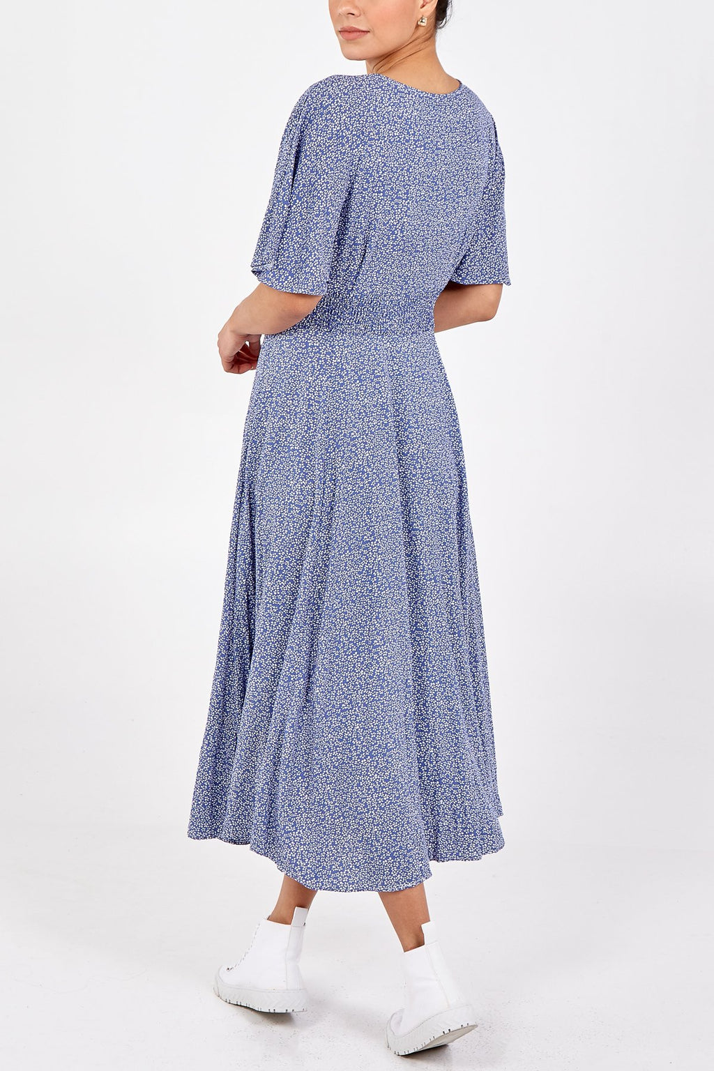 Button Through Ditsy Tea Dress with Shirring