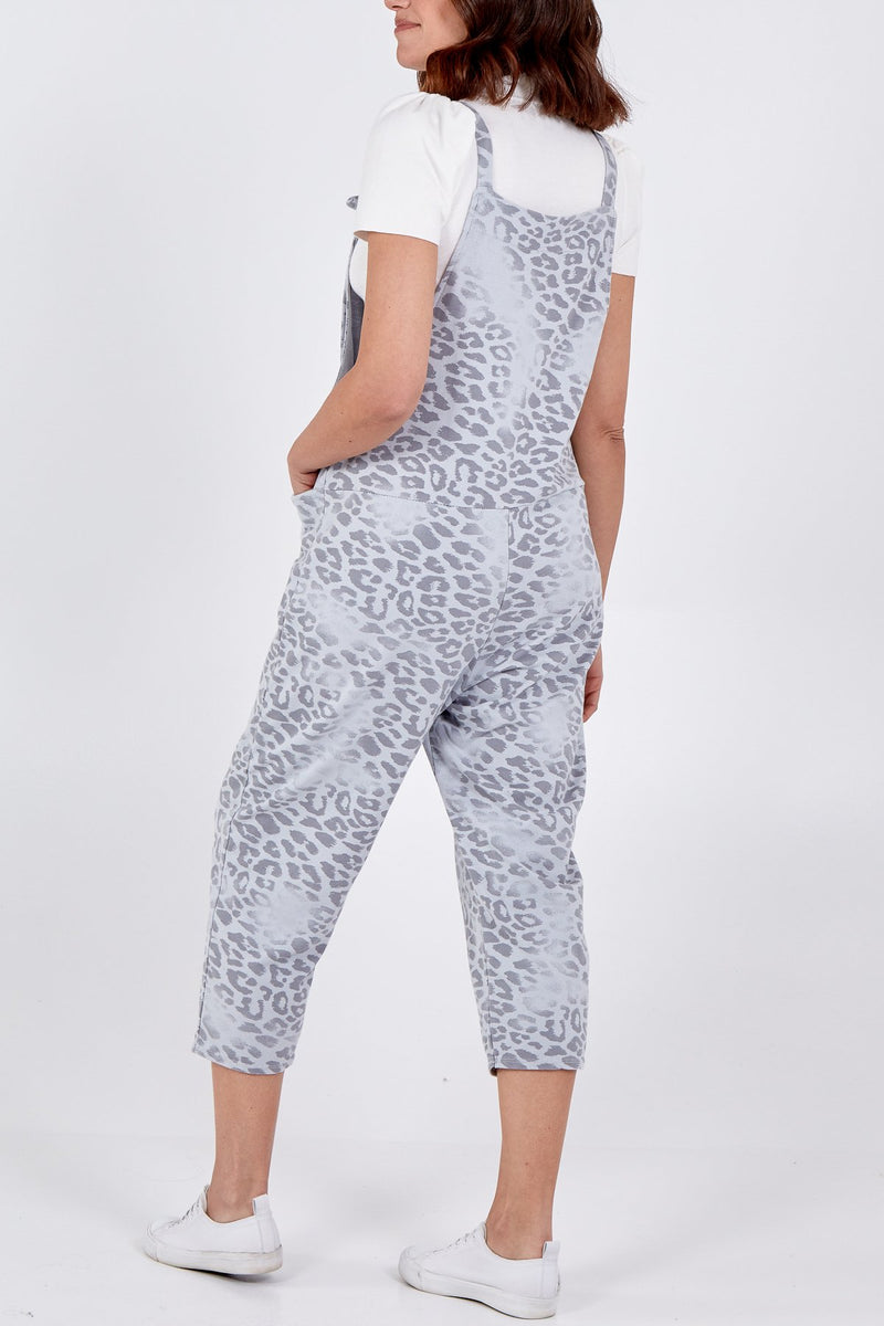 Cheetah Print Slouch Dungarees - Light Grey