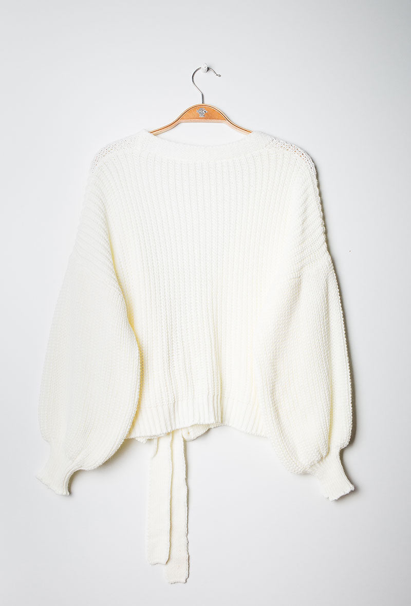Knit Wrap Cardigan White