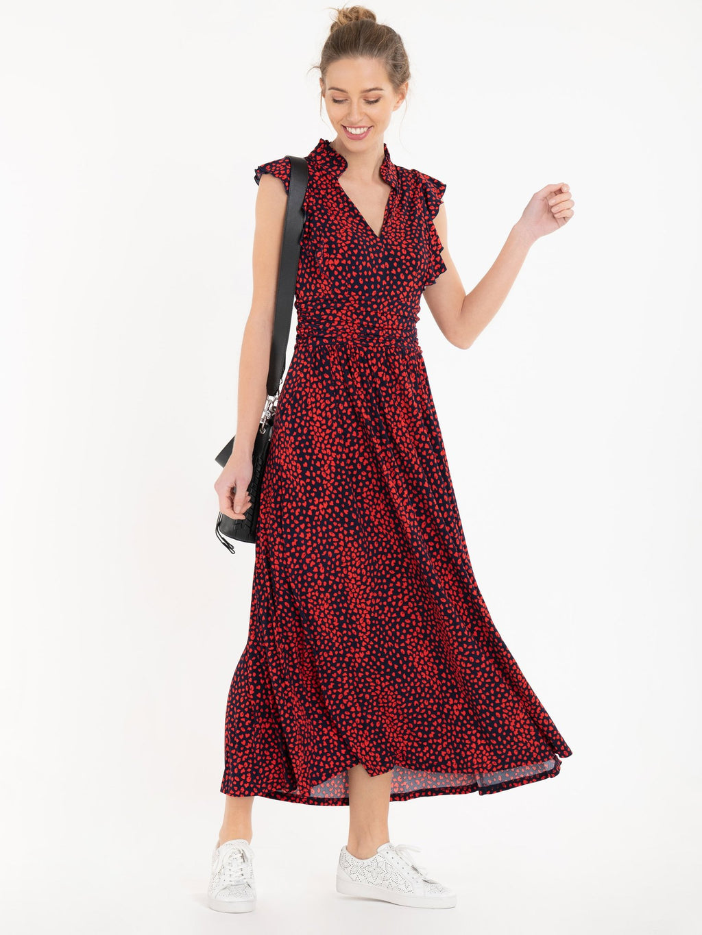 Elizabeth Red Leopard Frill Midi Dress