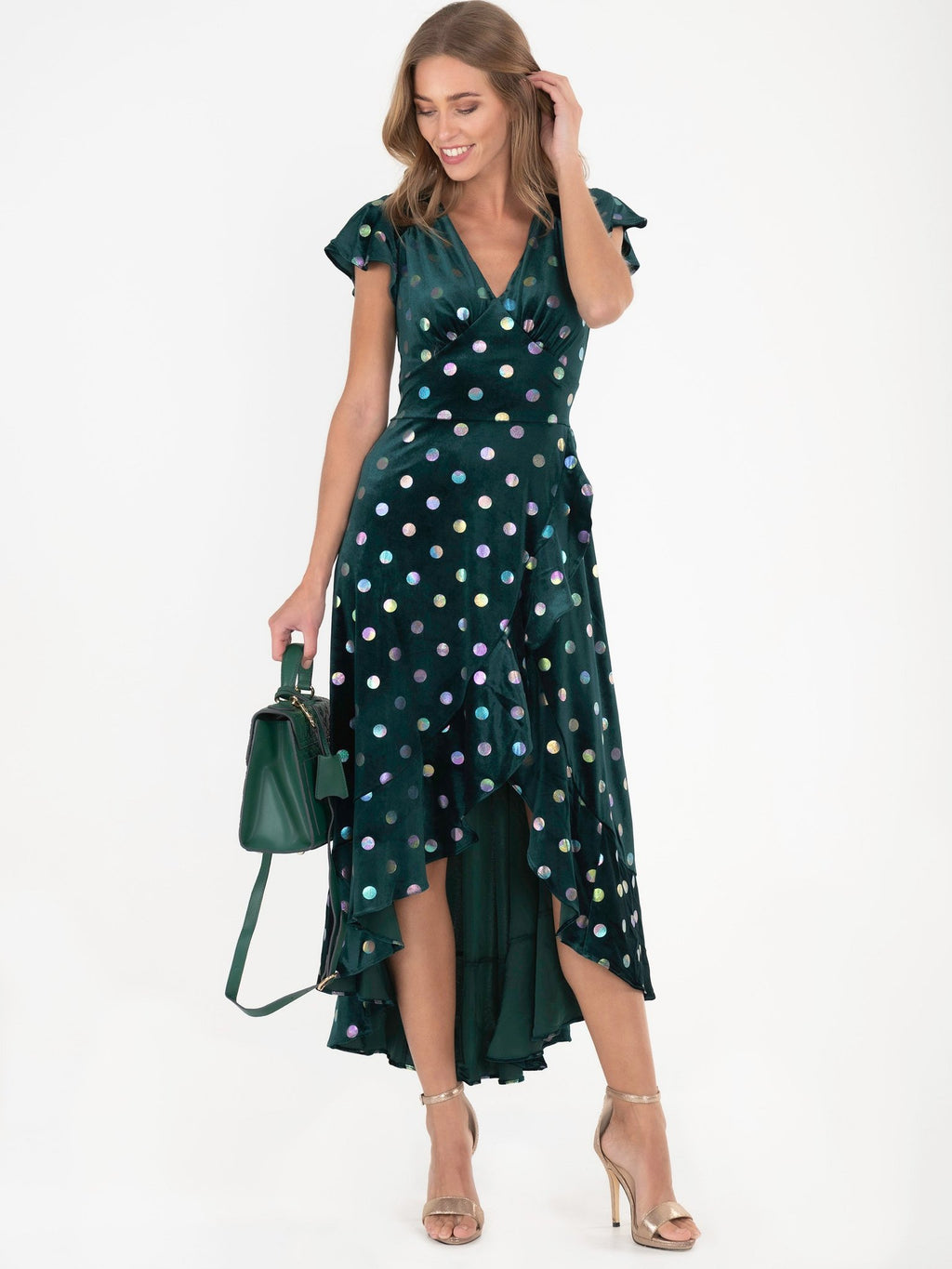 Emerald Rainbow Spot Ruffle Velvet Dress