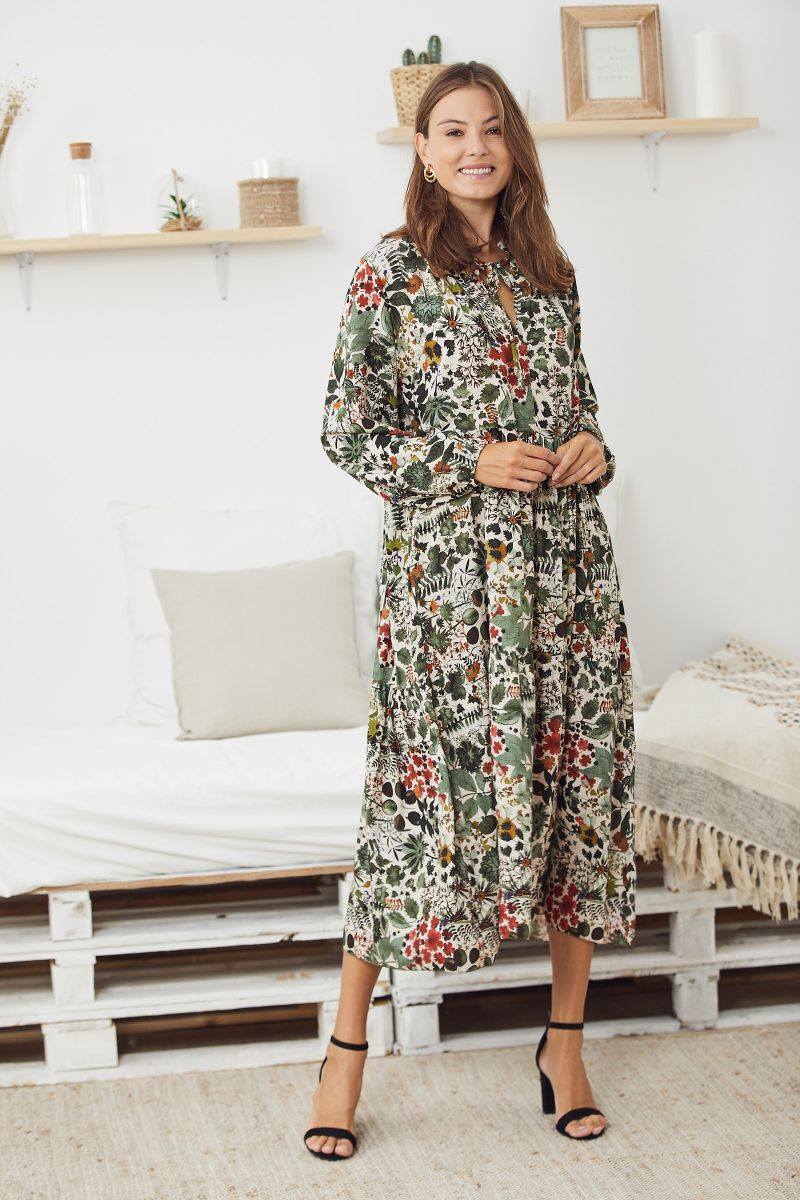 Floaty Smock Dress in Floral Green