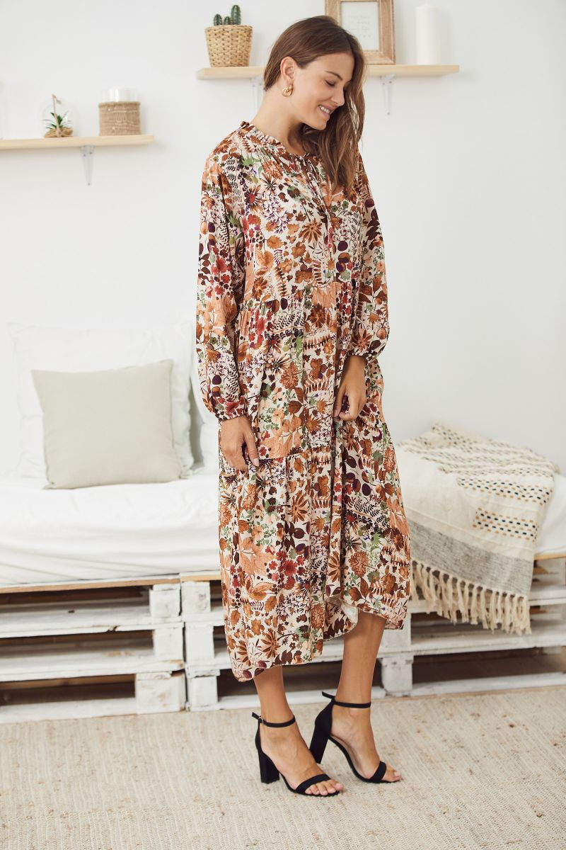 Floaty Smock Dress in Floral Autumn