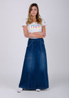 Retro 70s Denim Maxi Skirt - Darkwash