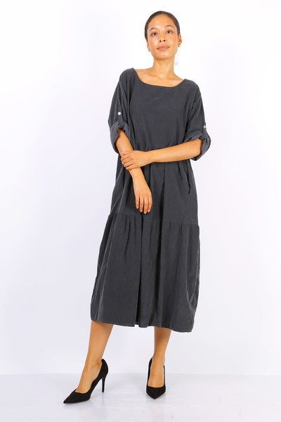 Fine Cord Midi Smock Dress in Grey
