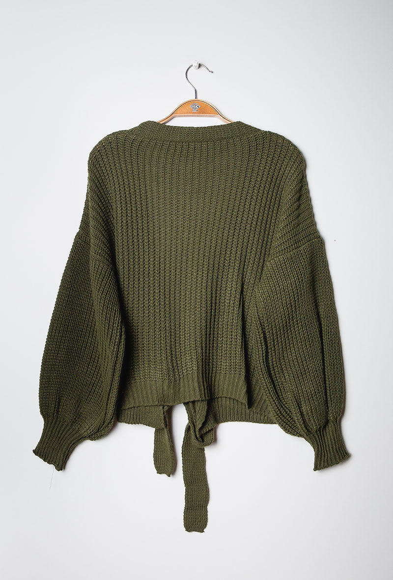 Knit Wrap Cardigan Khaki