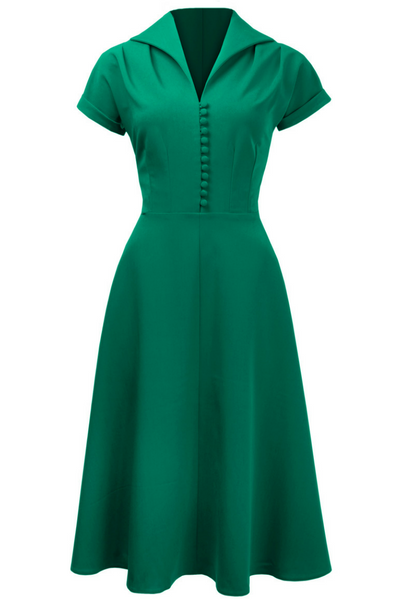 1940s Hostess Dress in Emerald with cap sleeves and buttons