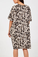 Leopard T-Shirt Dress with Pockets - Stone