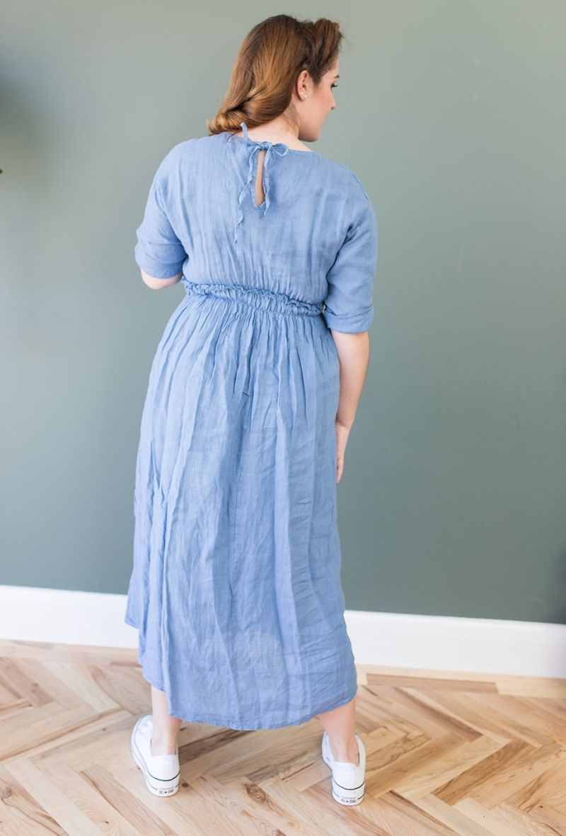 Abigail Denim Blue Linen Midi Dress