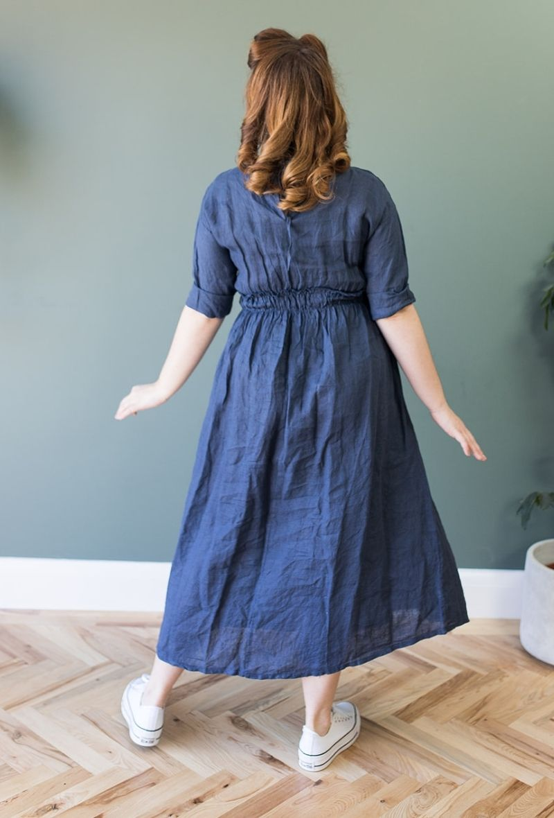 Abigail Navy Blue Linen Midi Dress