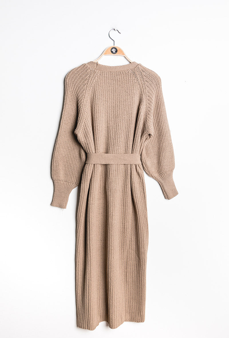 Longline Chunky Knit Cardigan with Belt - Fawn