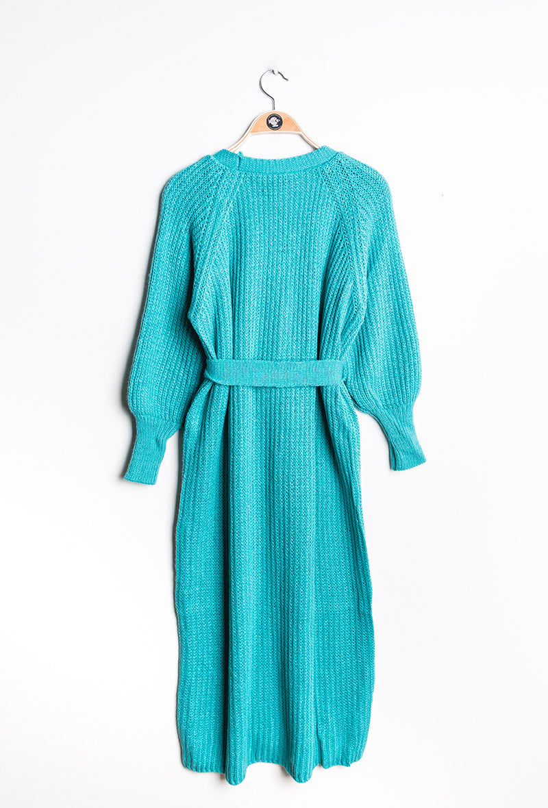 Longline Chunky Knit Cardigan with Belt - Cyan Blue