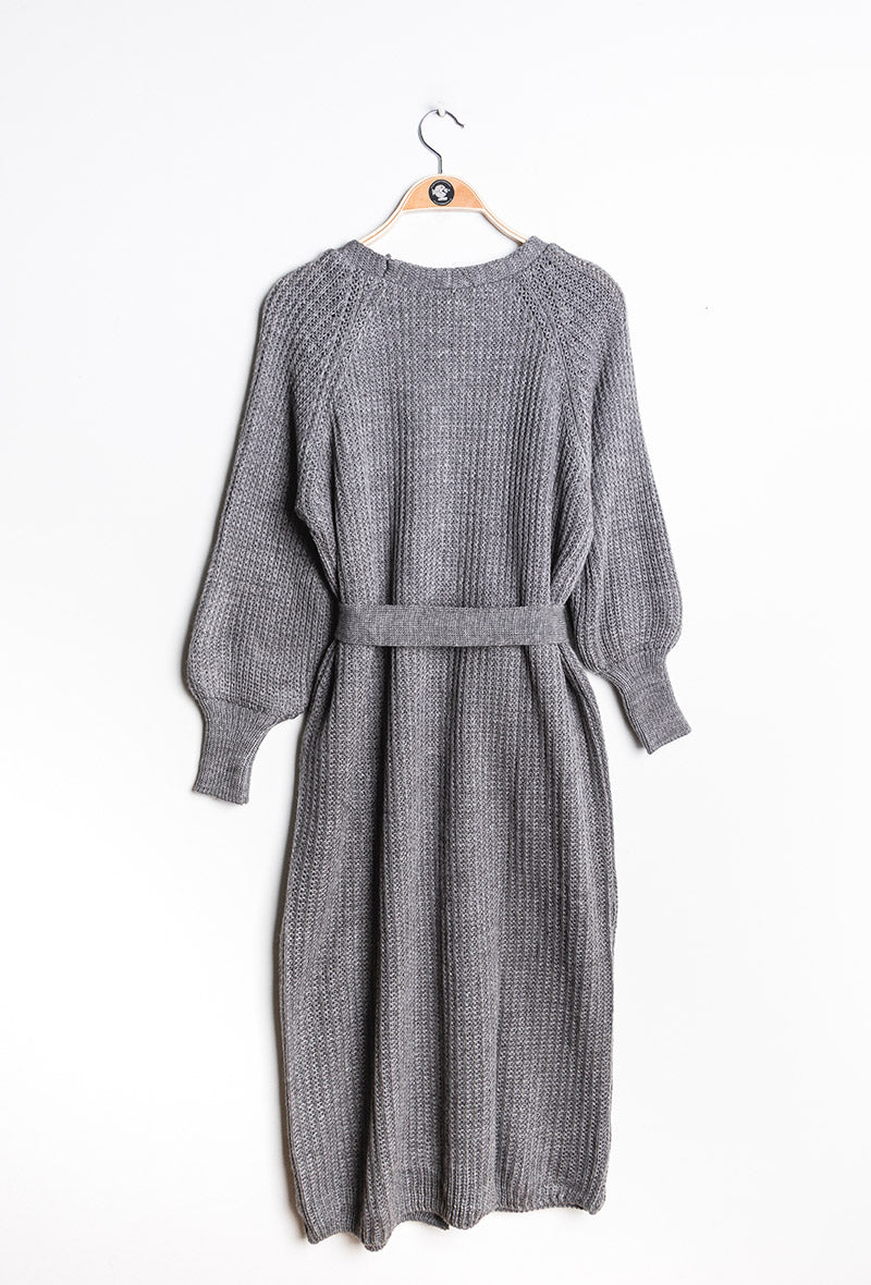Longline Chunky Knit Cardigan with Belt - Dark Grey