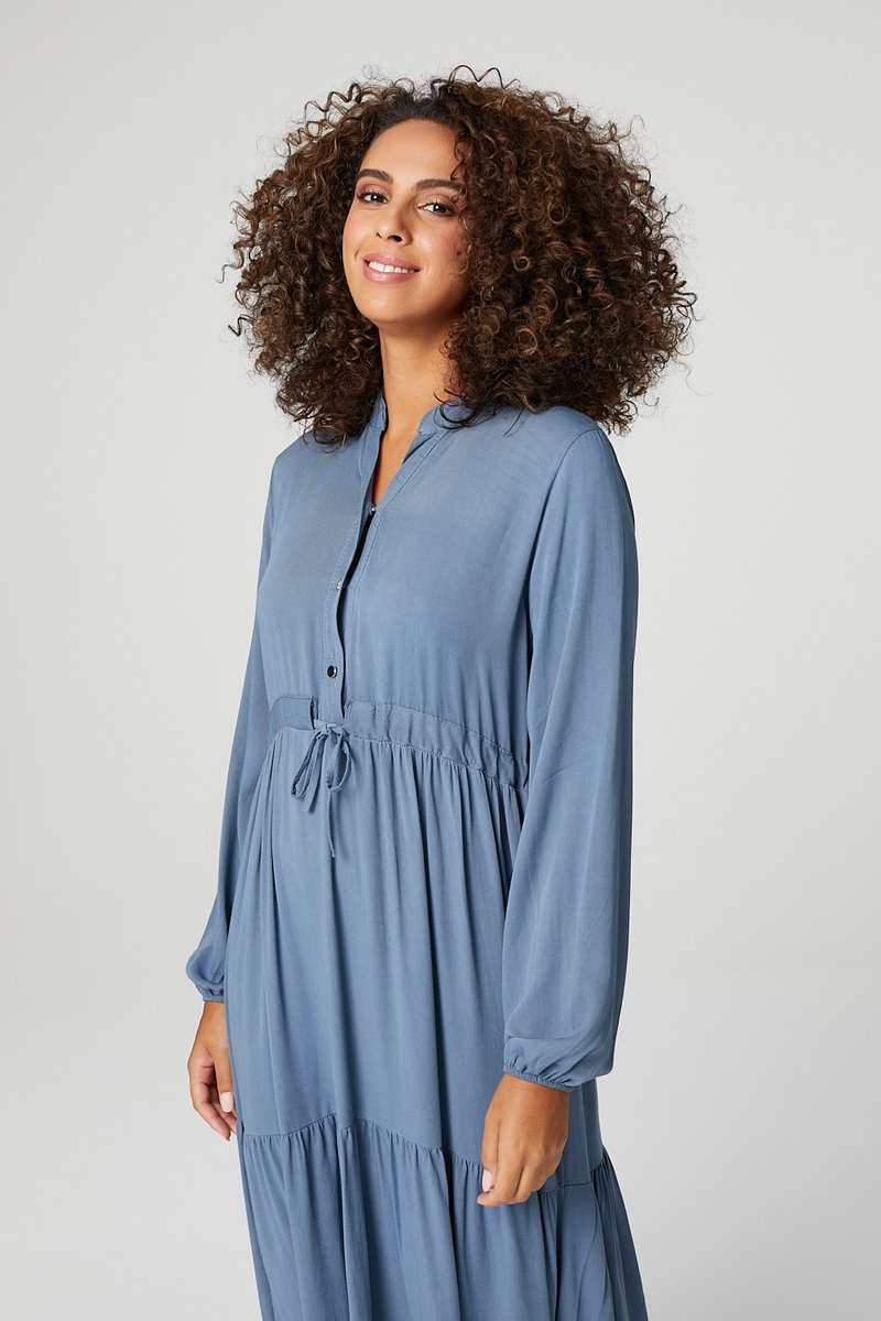 Long Sleeve Tiered Midi Shirt Dress