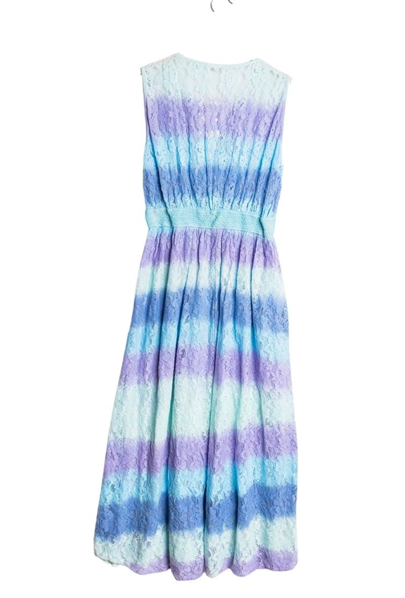 Mermaid Lace Midi Dress - Blue/Purple