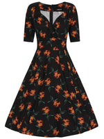 Midnight Lily 1950s Dress