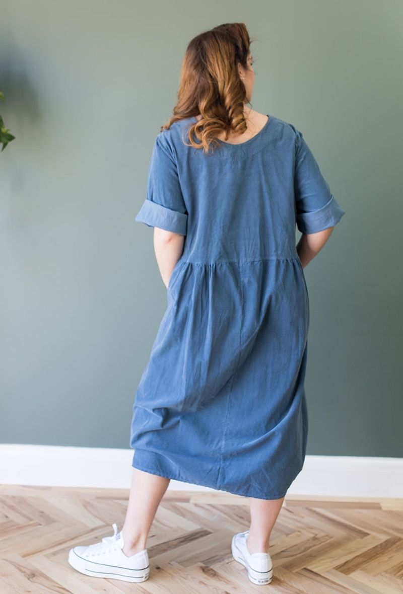 Needle Cord Midi Smock Dress in Jeans Blue