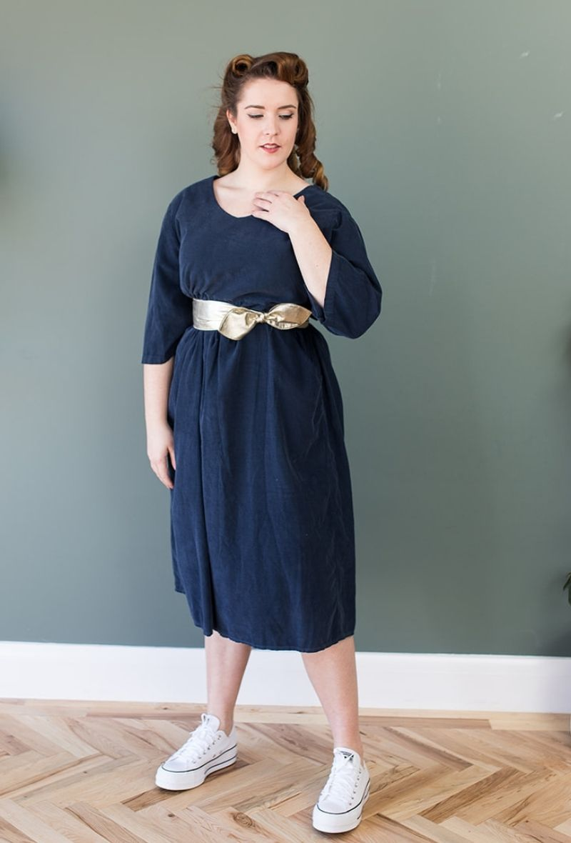 Needle Cord Midi Smock Dress in Navy