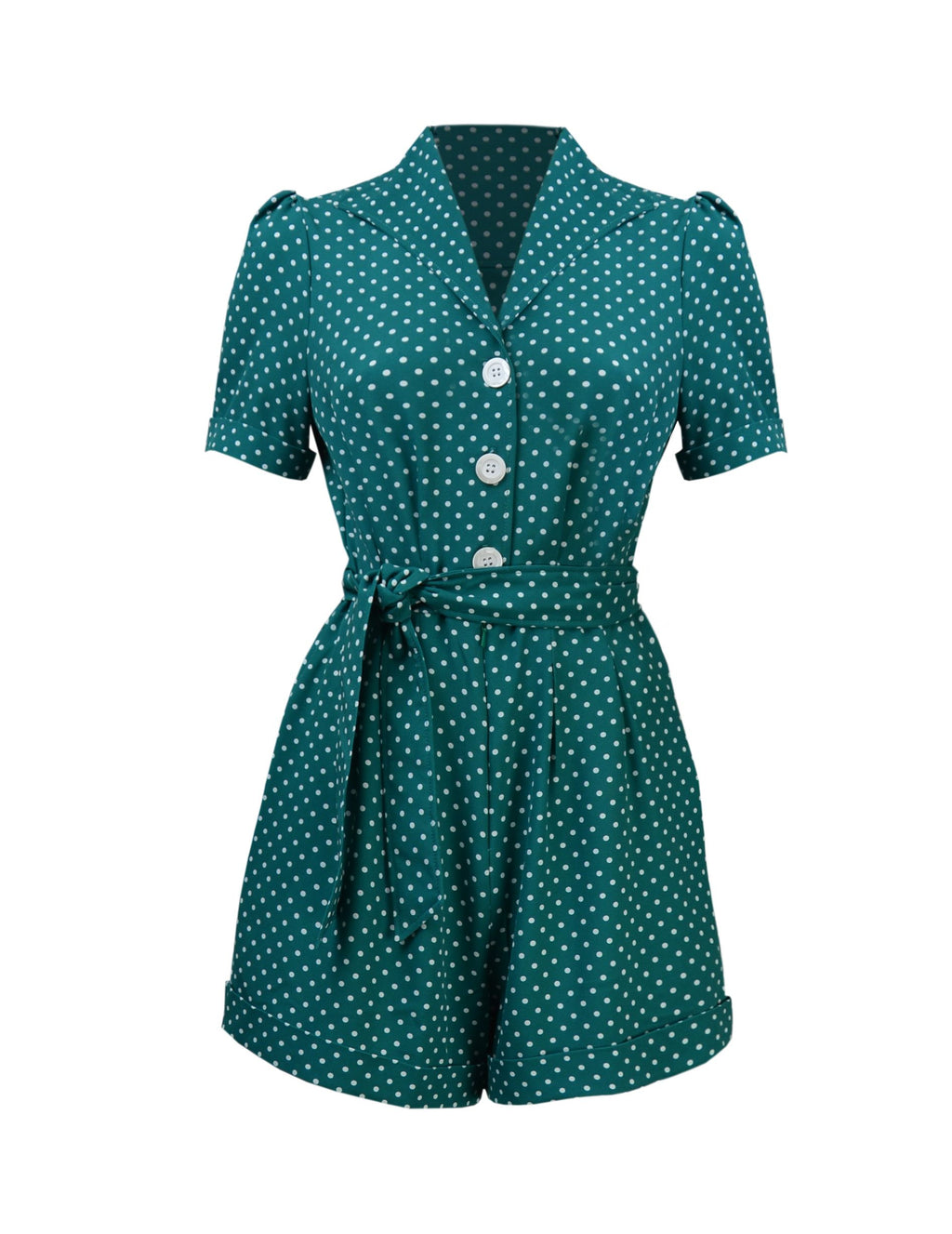 Pretty Playsuit in Polka Dot Green